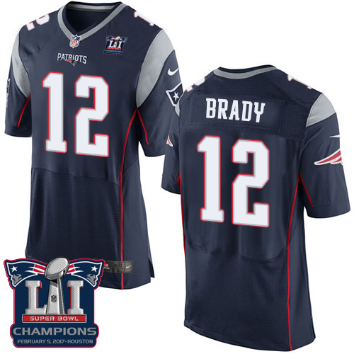 Nike Patriots 12 Tom Brady Navy 2017 Super Bowl LI Champions Elite Jersey