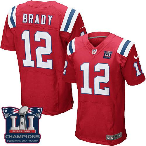 Nike Patriots 12 Tom Brady Red 2017 Super Bowl LI Champions Elite Jersey