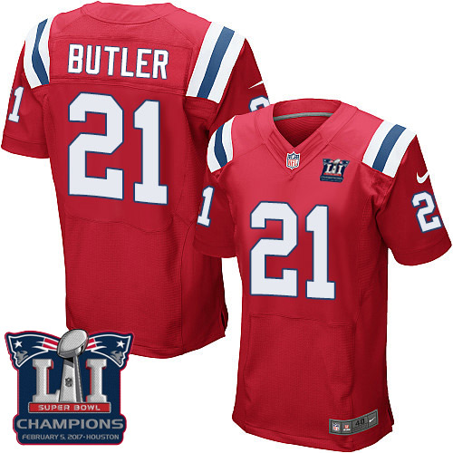 Nike Patriots 21 Malcolm Red 2017 Super Bowl LI Champions Elite Jersey