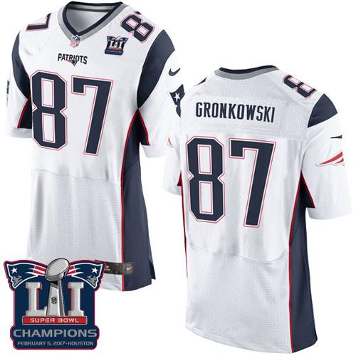 Nike Patriots 87 Rob Gronkowski White 2017 Super Bowl LI Champions Elite Jersey