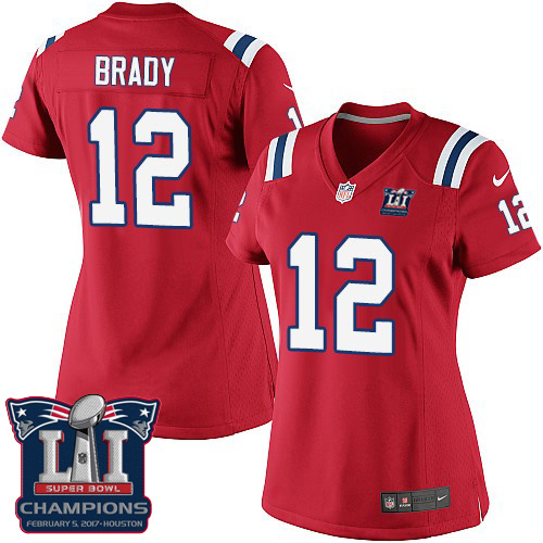 Nike Patriots 12 Tom Brady Red 2017 Super Bowl LI Champions Women Game Jersey