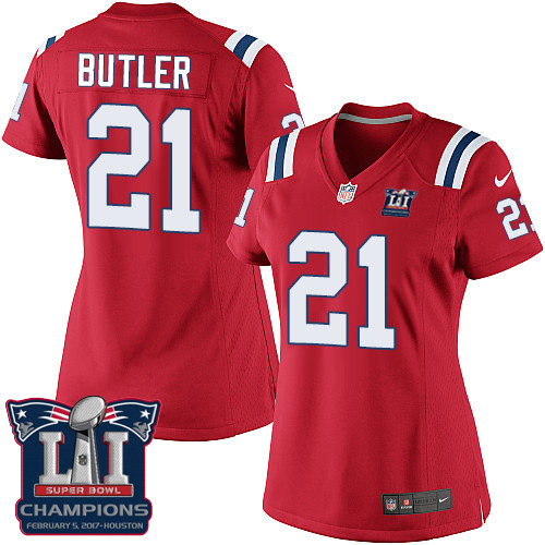 Nike Patriots 21 Malcolm Red 2017 Super Bowl LI Champions Women Game Jersey