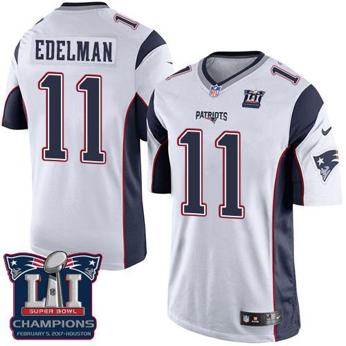 Nike Patriots 11 Julian Edelman White 2017 Super Bowl LI Champions Youth Game Jersey