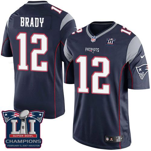 Nike Patriots 12 Tom Brady Navy 2017 Super Bowl LI Champions Youth Game Jersey