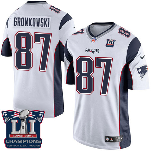 Nike Patriots 87 Rob Gronkowski White 2017 Super Bowl LI Champions Youth Game Jersey