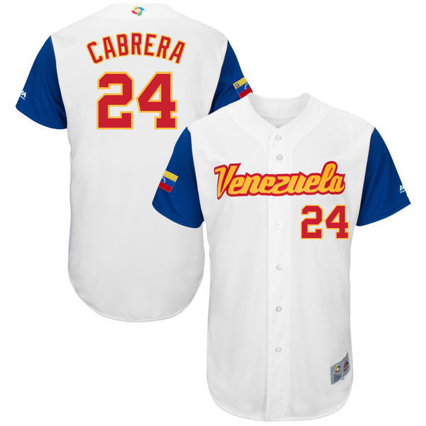 Men's Venezuela Baseball 24 Miguel Cabrera White 2017 World Baseball Classic Jersey