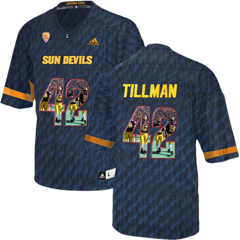 Arizona State Sun Devils 42 Pat Tillman Black Team Logo Print College Football Jersey