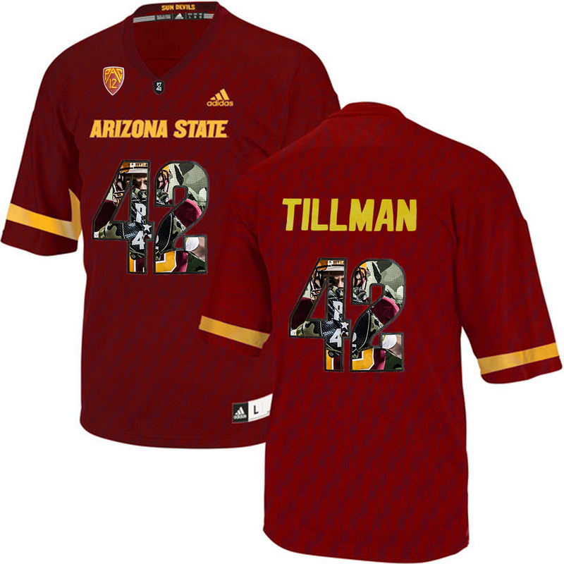Arizona State Sun Devils 42 Pat Tillman Red Team Logo Print College Football Jersey2