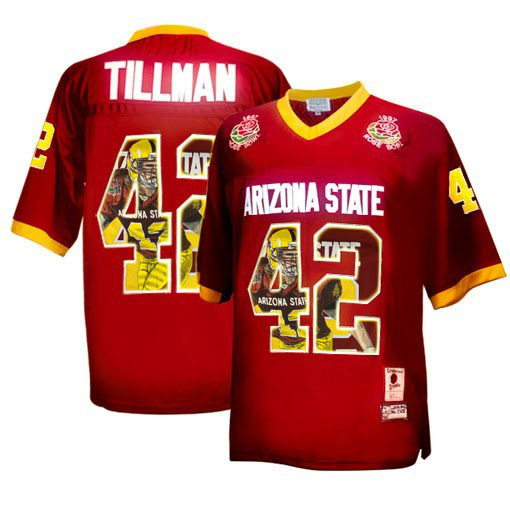Arizona State Sun Devils 42 Pat Tillman Red Team Logo Print College Football Jersey4