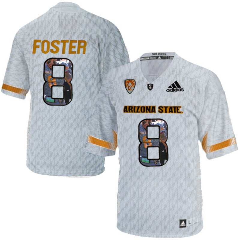 Arizona State Sun Devils 8 D.J. Foster Ice Team Logo Print College Football Jersey5