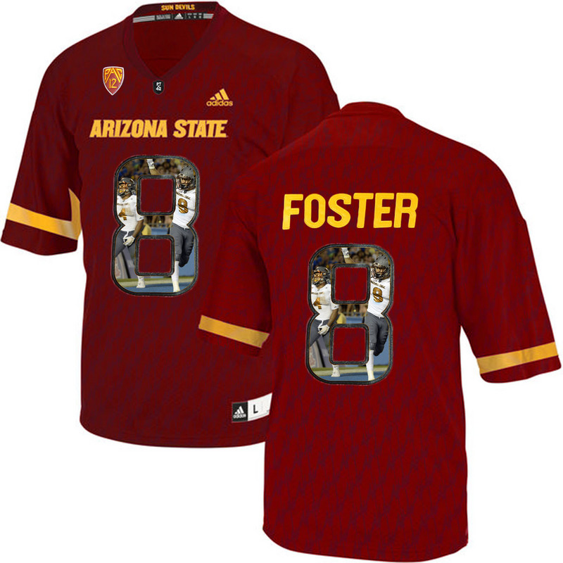 Arizona State Sun Devils 8 D.J. Foster Red Team Logo Print College Football Jersey7