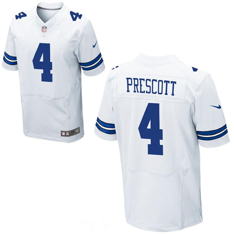 Nike Cowboys 4 Dak Prescott White Elite Jersey
