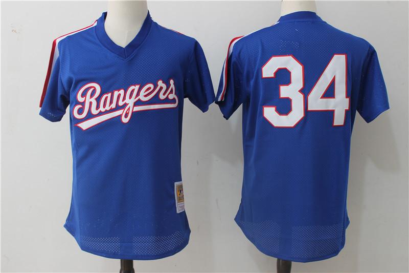 Rangers 34 Nolan Ryan Royal 1989 Cooperstown Collection Mesh Batting Practice Jersey