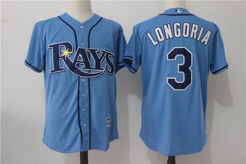 Rays 3 Evan Longoria Light Blue Cool Base Jersey