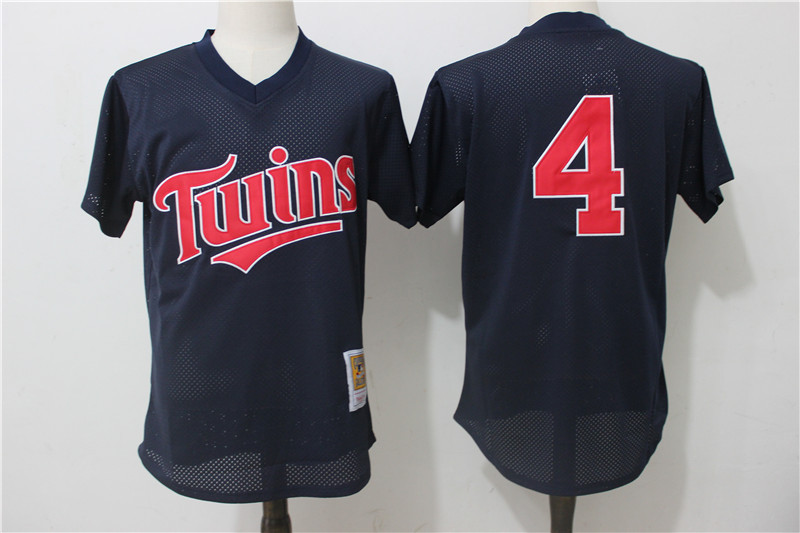 Twins 4 Paul Molitor Navy Blue 1996 Throwback Mesh Batting Practice Jersey