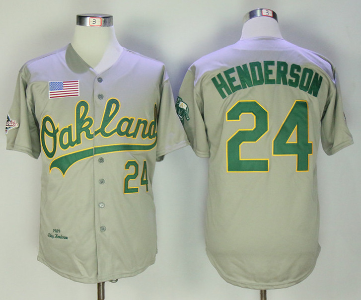 Athletics 24 Rickey Henderson Gray 1989 Throwback Jersey