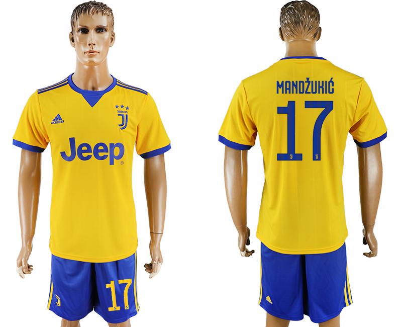 2017-18 Juventus 17 MANDZUKIC Away Soccer Jersey