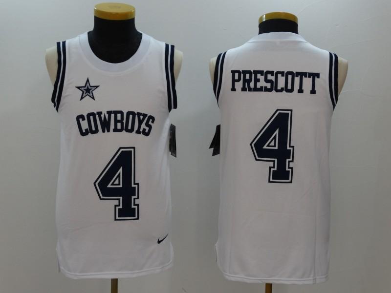 Nike Cowboys 4 Dak Prescott White Color Rush Name & Number Tank Top