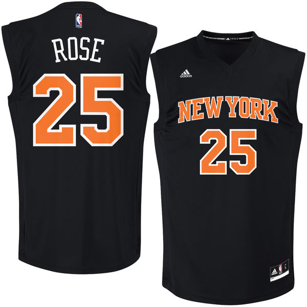 Knicks 25 Derrick Rose Black Fashion Replica Jersey