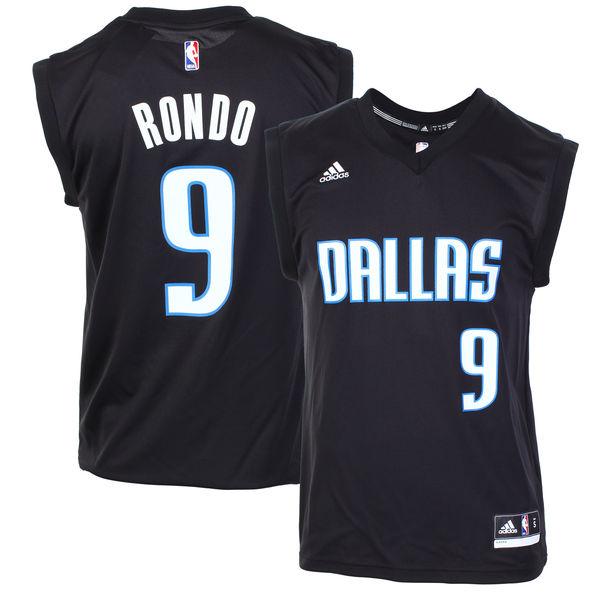 Mavericks 9 Rajon Rondo Black Fashion Replica Jersey