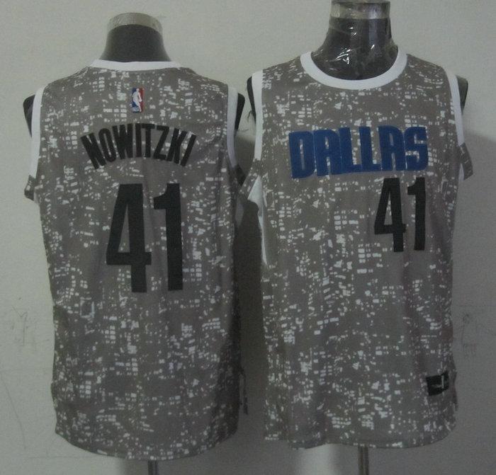 Mavericks 41 Dirk Nowitzki Gray City Luminous Jersey