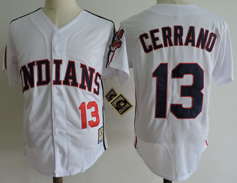 Indians 13 Pedro Cerrano White Cooperstown Collection Jersey