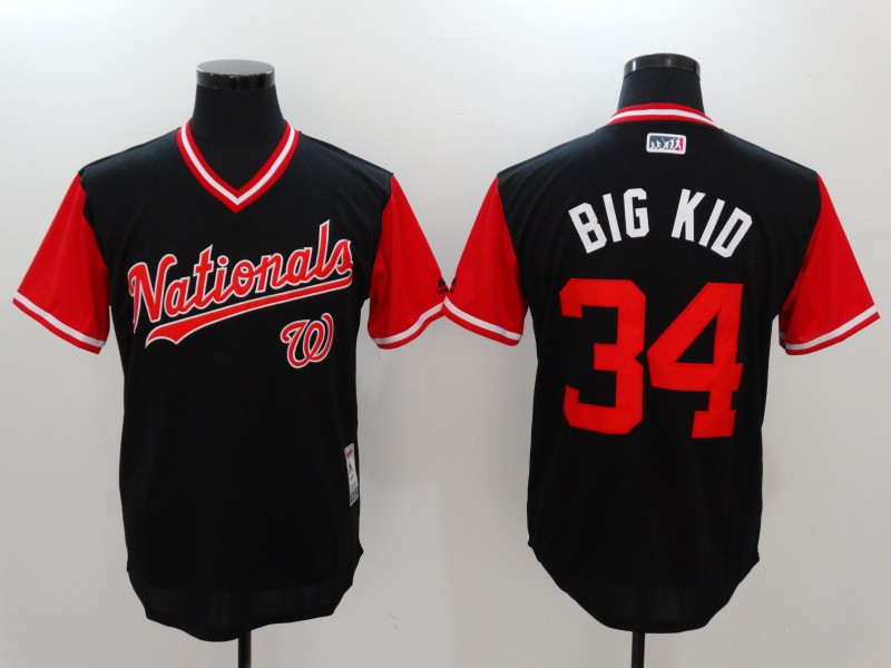 Nationals 34 Bryce Harper Big Kid Majestic Navy 2017 Players Weekend Jersey