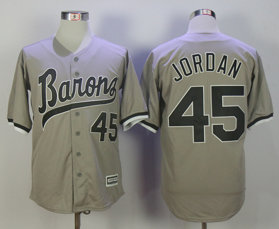 Birmingham Barons 45 Michael Jordan Gray Stitched Movie Baseball Jersey