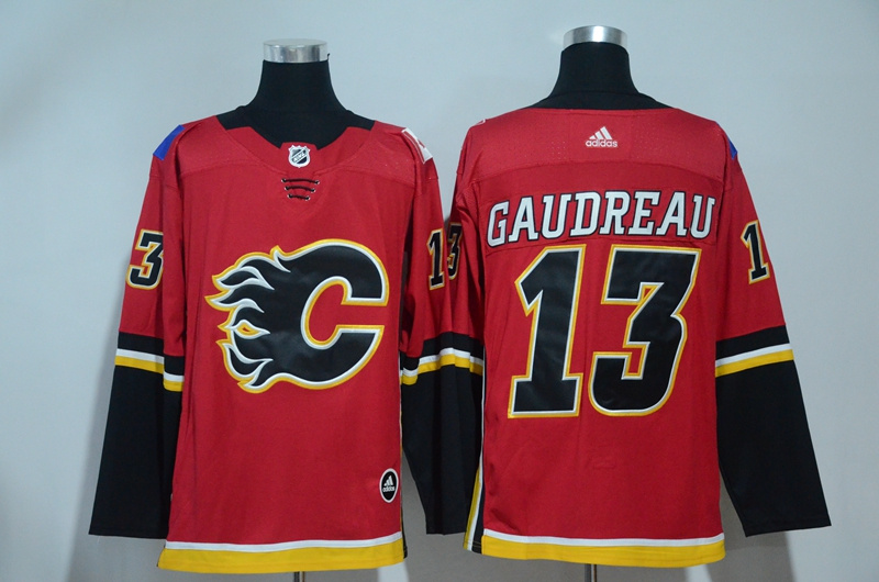 Flames 13 Johnny Gaudreau Red Adidas Jersey