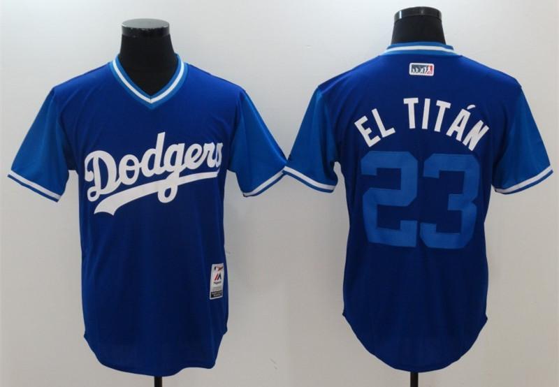 Dodgers 23 Adrian Gonzalez El Titan Majestic Royal 2017 Players Weekend Jersey