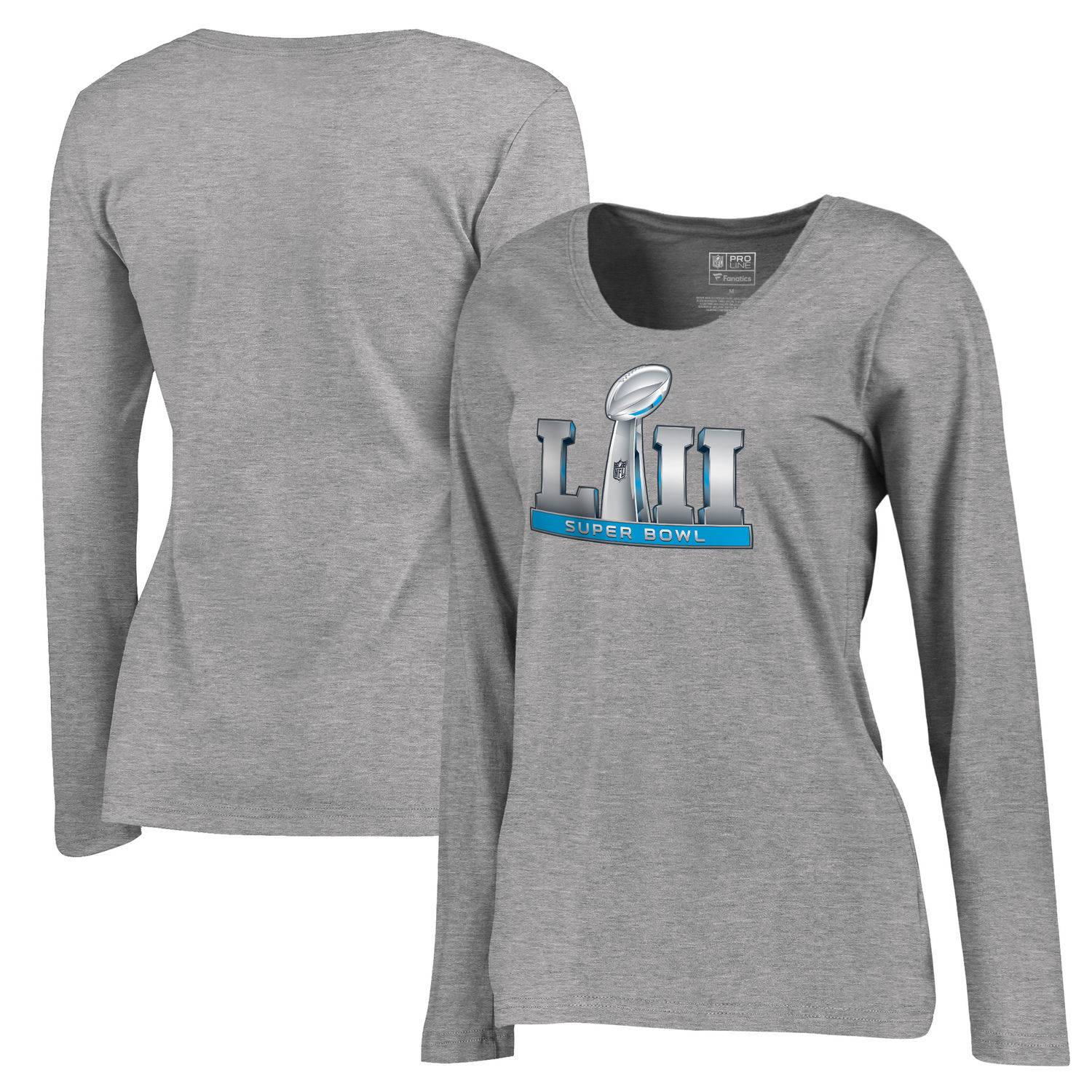 Women's NFL Pro Line by Fanatics Branded Heather Gray Super Bowl LII Event Plus Size V Neck Long Sleeve T Shirt