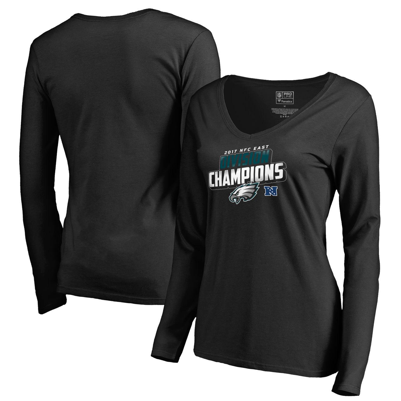 Women's Philadelphia Eagles NFL Pro Line by Fanatics Branded Black 2017 NFC East Division Champions Long Sleeve V Neck T Shirt