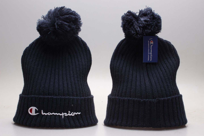 Champion Navy Fashion Sport Pom Knit Hat YP
