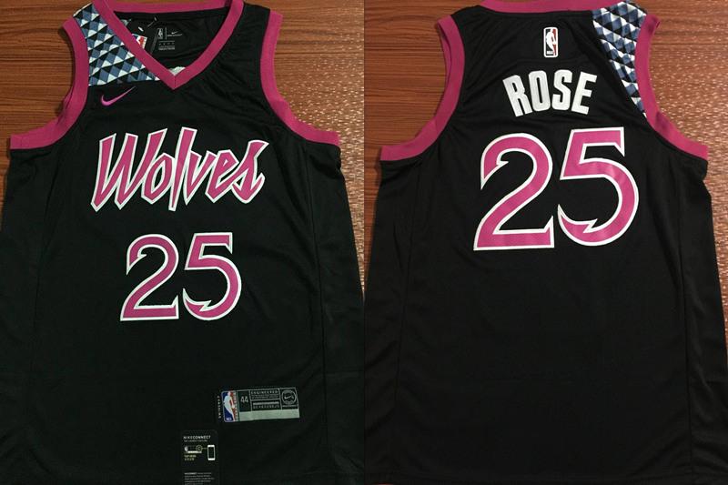 Timberwolves 25 Derrick Rose Black 2018 19 City Edition Nike Swingman Jersey