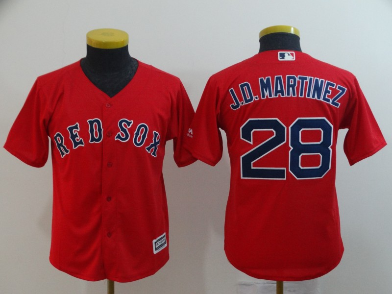 Red Sox 28 J.D. Martinez Red Youth Cool Base Jersey