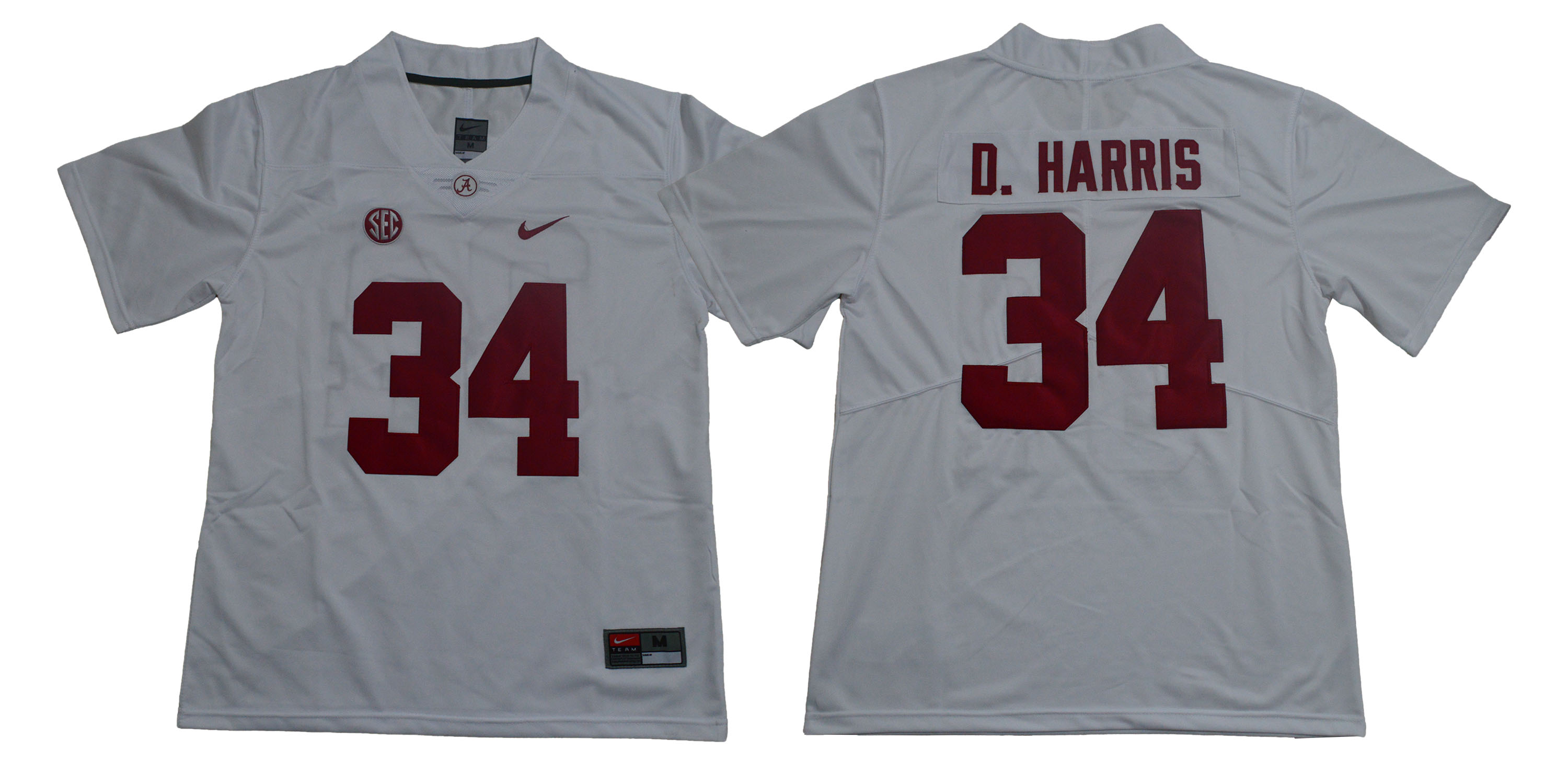 Alabama Crimson Tide 34 Damien Harris White Nike College Football Jersey