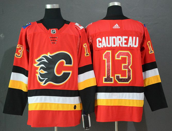 Flames 13 Johnny Gaudreau Red Drift Fashion Adidas Jersey