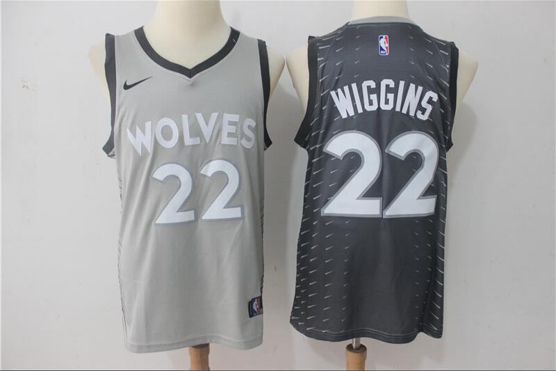 Timberwolves 22 Andrew Wiggins Gray City Edition Nike Swingman Jersey