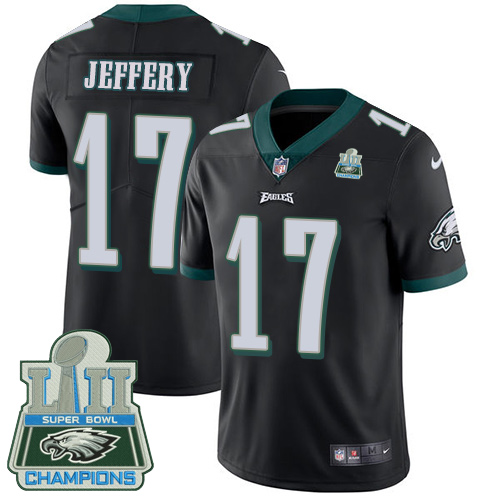 Nike Eagles 17 Alshon Jeffery Black 2018 Super Bowl Champions Youth Vapor Untouchable Player Limited Jersey