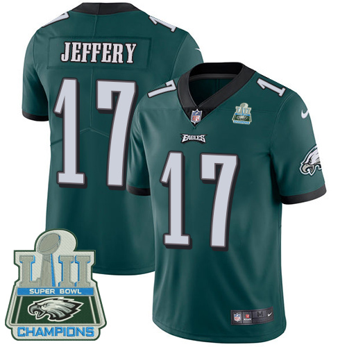 Nike Eagles 17 Alshon Jeffery Green 2018 Super Bowl Champions Youth Vapor Untouchable Player Limited Jersey