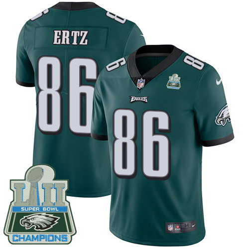 Nike Eagles 86 Zach Ertz Green 2018 Super Bowl Champions Youth Vapor Untouchable Player Limited Jersey