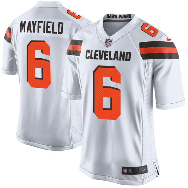 Nike Browns 6 Baker Mayfield White 2018 NFL Draft Pick Elite Jersey