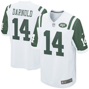 Nike Jets 14 Sam Darnold White 2018 NFL Draft Pick Elite Jersey