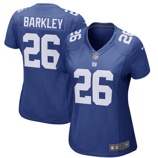 Nike Giants 26 Saquon Barkley Royal Women 2018 Draft Pick Game Jersey