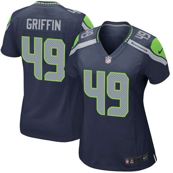 Nike Seahawks 49 Shaquem Griffin Navy Women 2018 Draft Pick Game Jersey