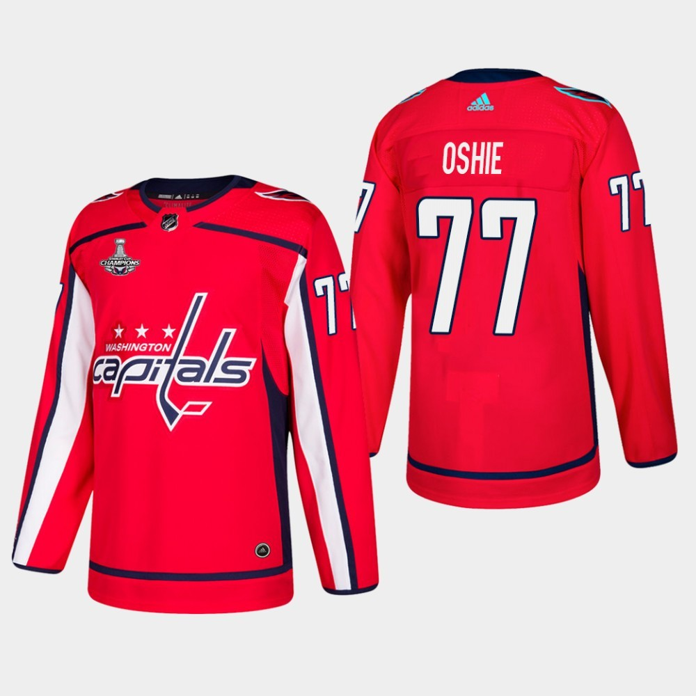 Capitals 77 T.J. Oshie Red 2018 Stanley Cup Champions Adidas Jersey