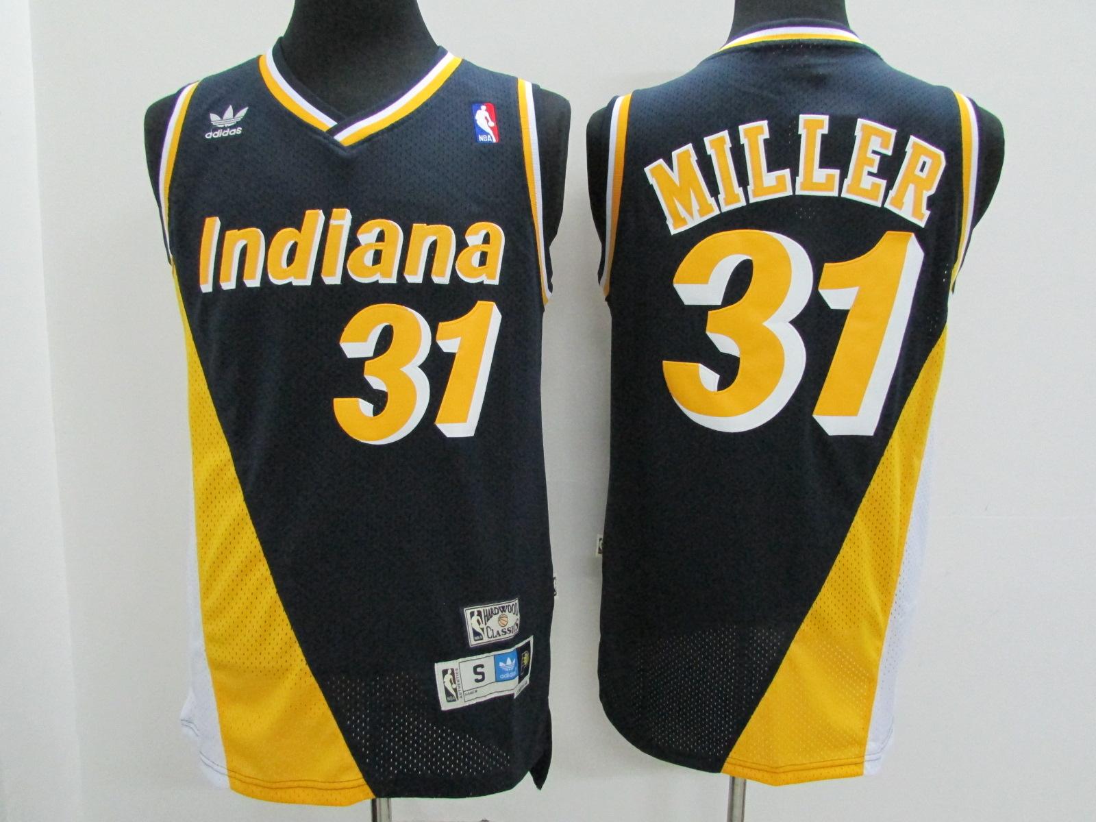 Pacers 31 Reggie Miller Navy Hardwood Classics Flo-Jo Jersey