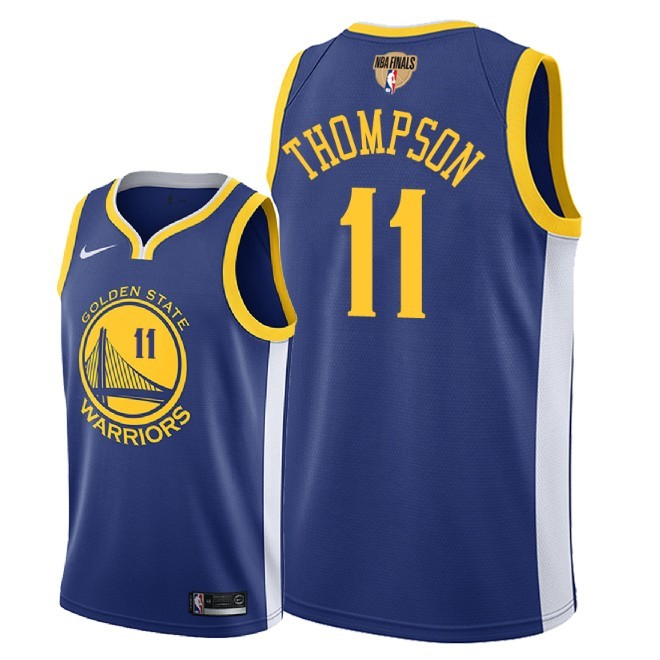 Warriors 11 Klay Thompson Blue 2018 NBA Finals Nike Swingman Jersey