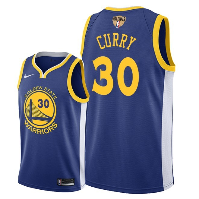 Warriors 30 Stephen Curry Blue 2018 NBA Finals Nike Swingman Jersey