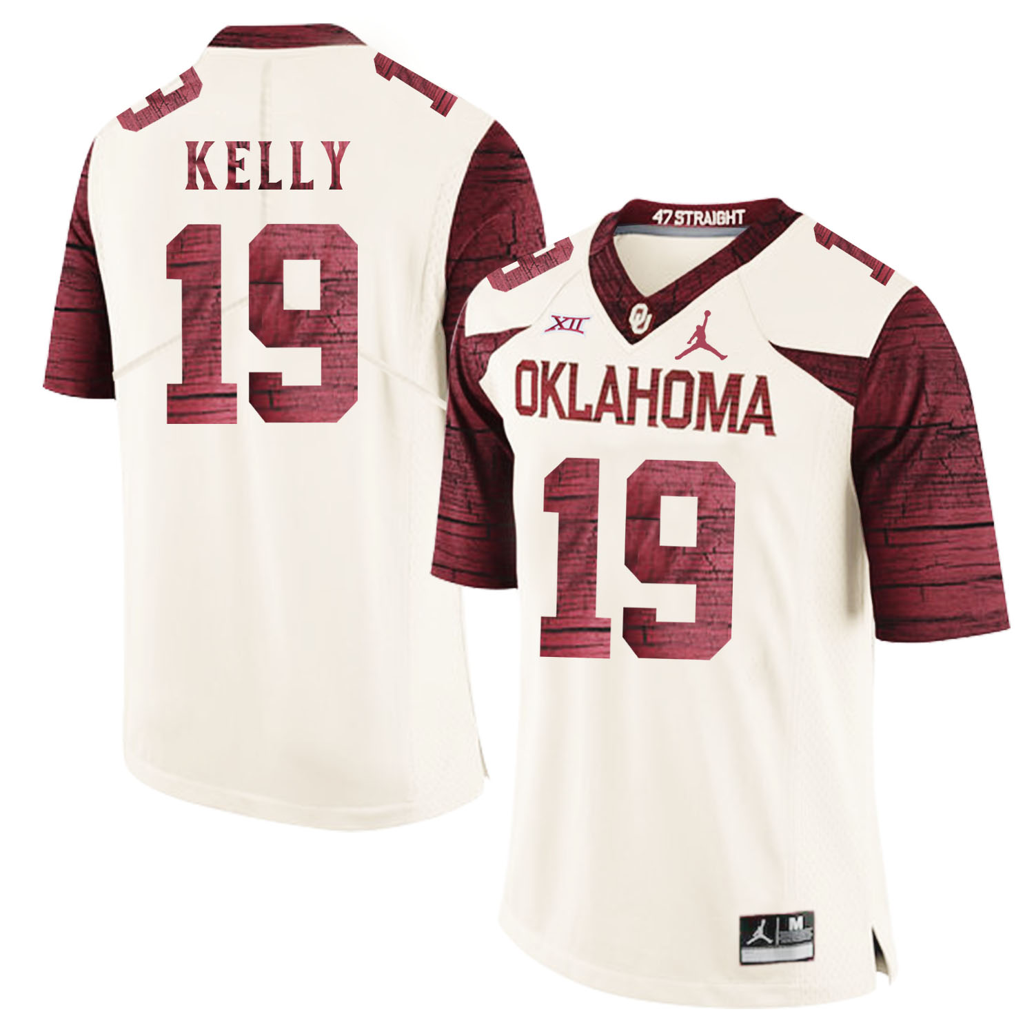 Oklahoma Sooners 19 Caleb Kelly White 47 Game Winning Streak College Football Jersey